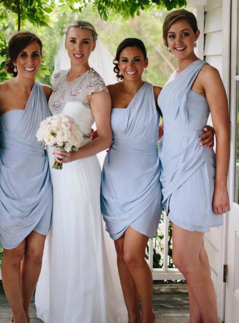 Sky Blue One Shoulder Sleeveless Short Chiffon Bridesmaid Dresses