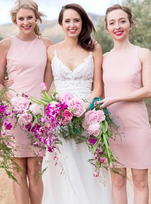 Pink Scoop Neck Sleeveless Slim Short Satin Bridesmaid Dress