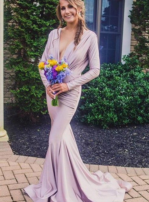 Pink V Neck Long Sleeve Backless Mermaid Pleats Bridesmaid Dresses