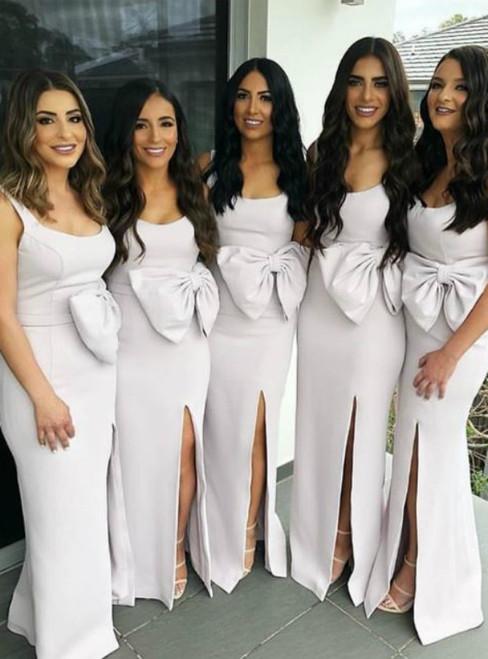 White Sheath Satin Straps Long Bridesmaids Dress With Side Split
