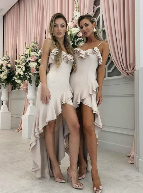 A-Line Spaghetti Straps Light Pink Satin Bridesmaid Dress with Ruffles