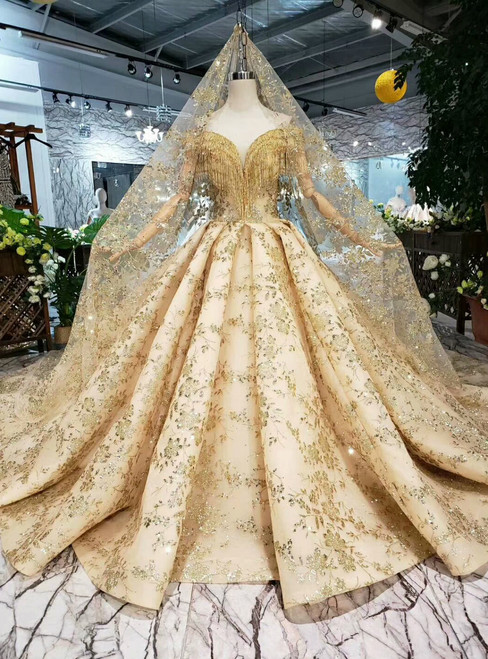 Champange Gold Ball Gown Sequins Off the Shoulder Wedding Dress With Beading