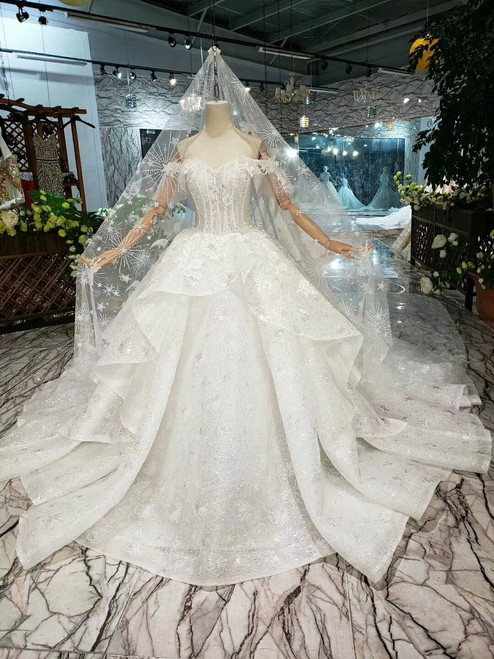 White Ball Gown Sequins Tulle Off the Shoulder Wedding Dress