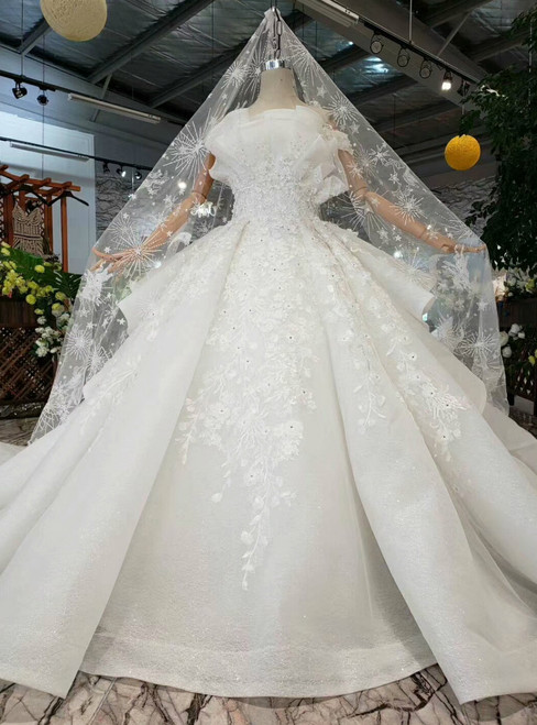 Ivory White Ball Gown Tulle Hand Flower Off the Shoulder Wedding Dress