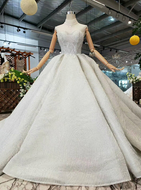 Silver Gray Sequins High Neck Open Back Wedding Dress With Pearls