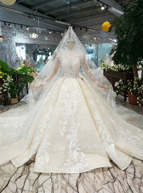 Champagne Tulle Appliques High Neck Long Sleeve Beading Wedding Dress