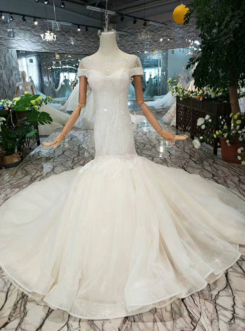 Champagne Mermaid Tulle Cap Sleeve Backless Wedding Dress With Beading