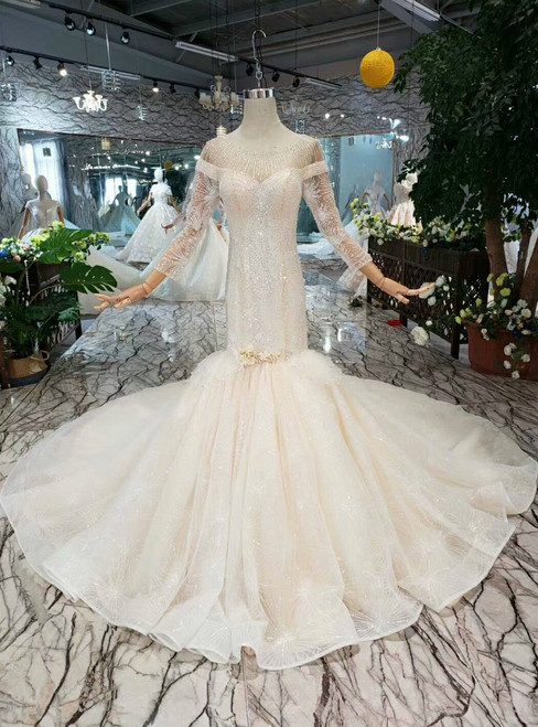 Champagne Mermaid Tulle Long Sleeve Bateau Wedding Dress With Beading