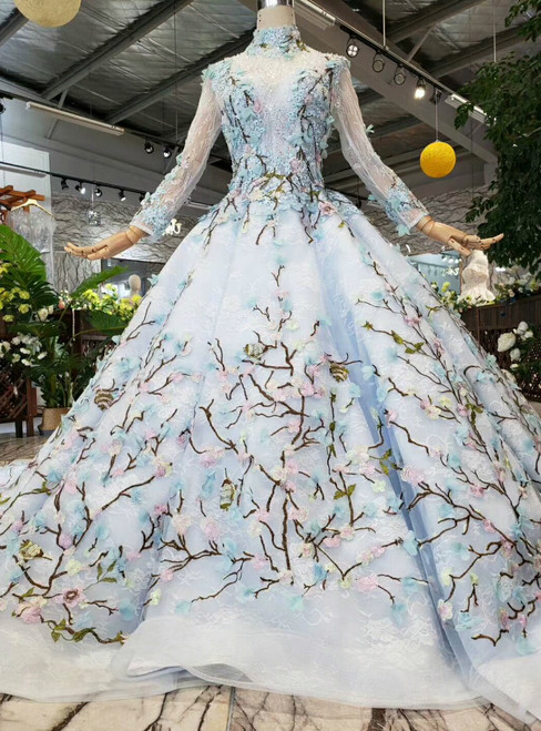 Blue Ball Gown Tulle Embroidery Appliques High Neck Long Sleeve Wedding Dress