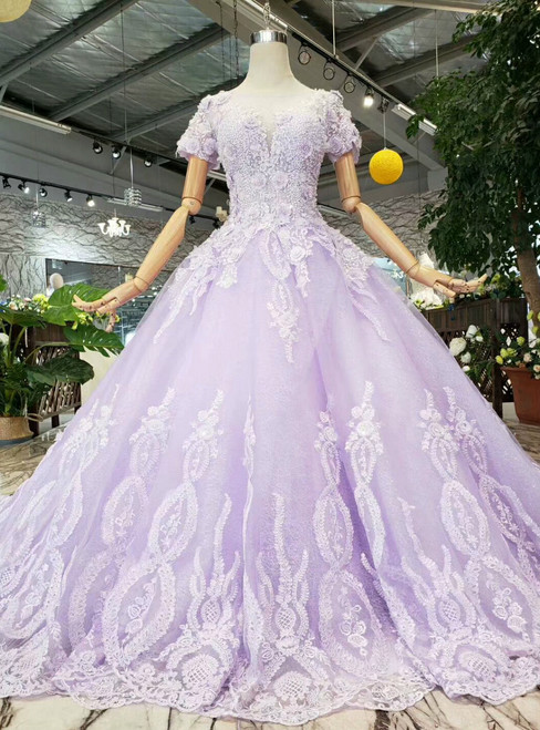 Purple Tulle Appliques Short Sleeve Wedding Dress With Beading