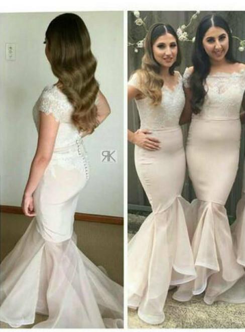 Charming 2017 Mermaid Bridesmaid Dresses Lace Appliques Bead