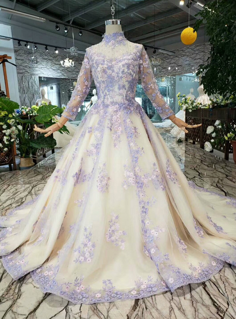 Champagne Tulle Purple Appliques High Neck Long Sleeve Wedding Dress