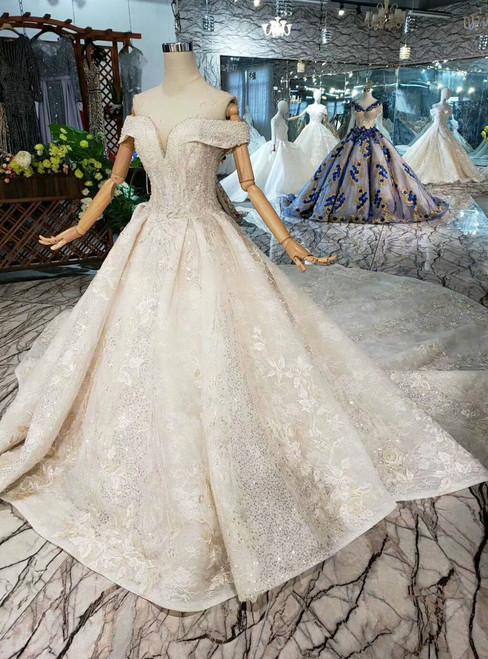 Tulle Lace Appliques Sequins Off the Shoulder Champange Wedding Dress