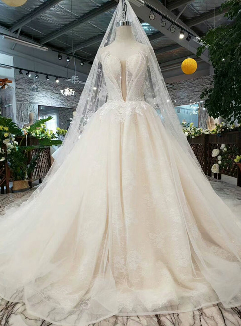 Champagne Tulle Strapless Appliques Wedding Dress With Beading