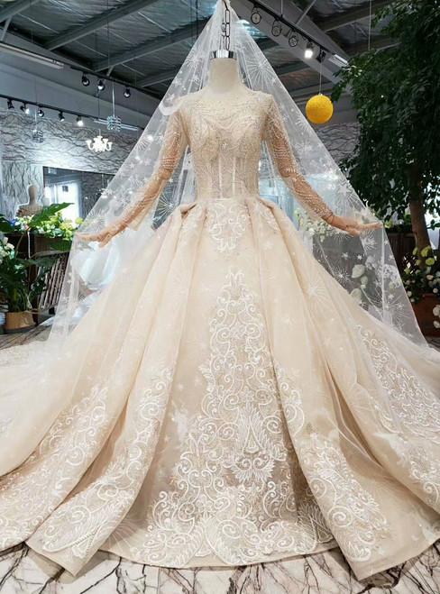 Champange Ball Gown Tulle Bateau Long Sleeve Appliques Wedding Dress