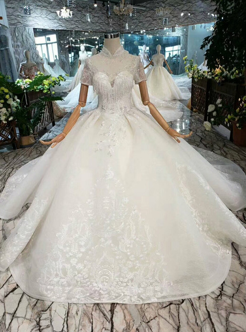 Champagne Ball Gown High Neck Short Sleeve Wedding Dress With Beading