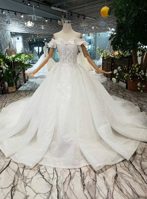 White Ball Gown Sequins Off the Shoulder Appliques Wedding Dress With Train