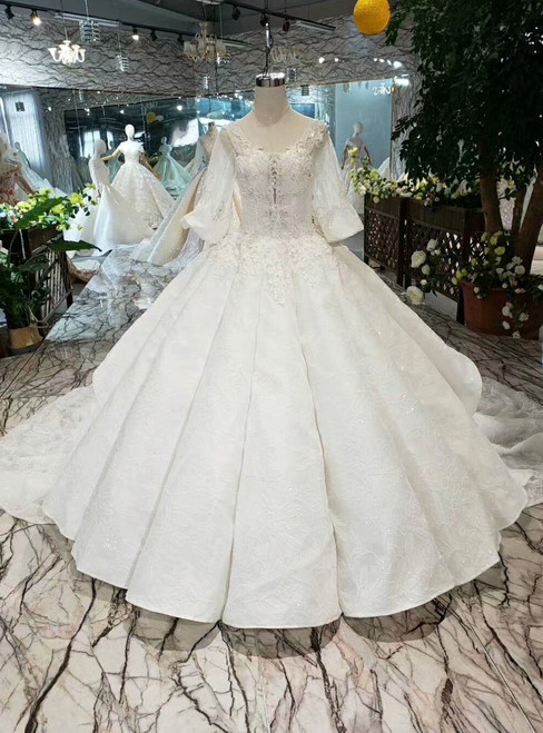 White Ball Gown Lace Tulle Puff Sleeve V-neck Appliques Wedding Dress