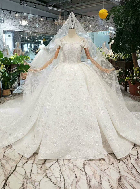 White Ball Gown Sequins Off the Shoulder Beading Wedding Dress With Train