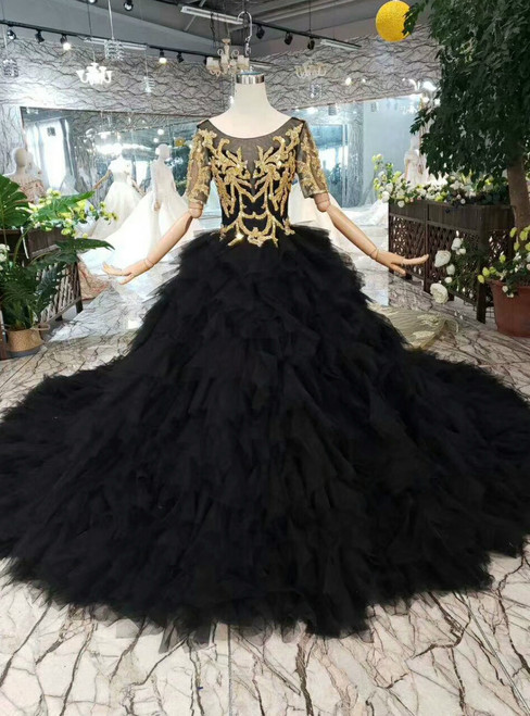 Black Ball Gown Tulle Bateau Short Sleeve Backless Wedding Dress With Removable Train