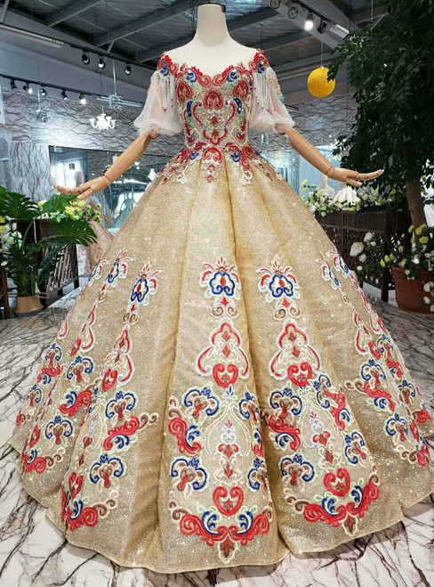 Gold Ball Gown Sequins Puff Sleeve Bateau Embroidery Wedding Dress With Beading