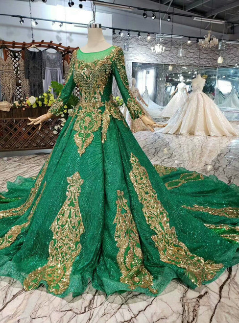 Green Ball Gown Sequins Bateau Long Sleeve Gold Appliques Wedding Dress