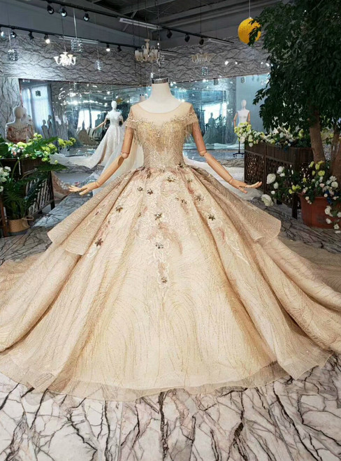 Champagne Gold Ball Gown Tulle Cap Sleeve Backless Wedding Dress With Beading