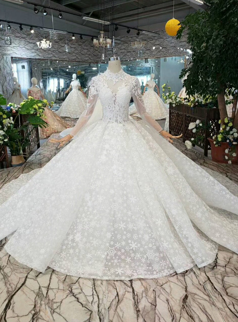 White Ball Gown Lace High Neck Long Sleeve Appliques Beading Wedding Dress