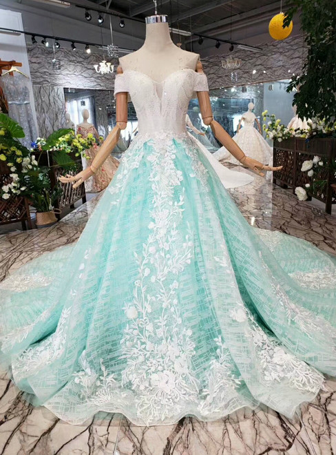 Green Tulle Appliques Off the Shoulder Beading Wedding Dress