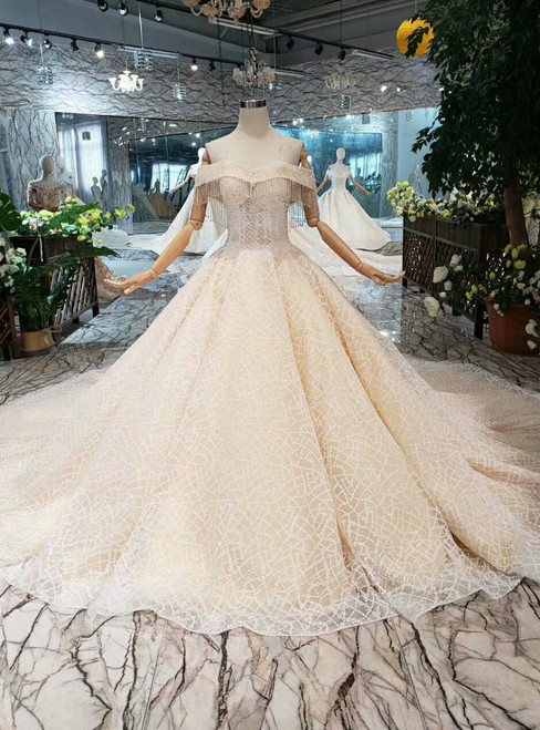 Champagne Tulle Sequins Off the Shoulder Wedding Dress With Beading With Train
