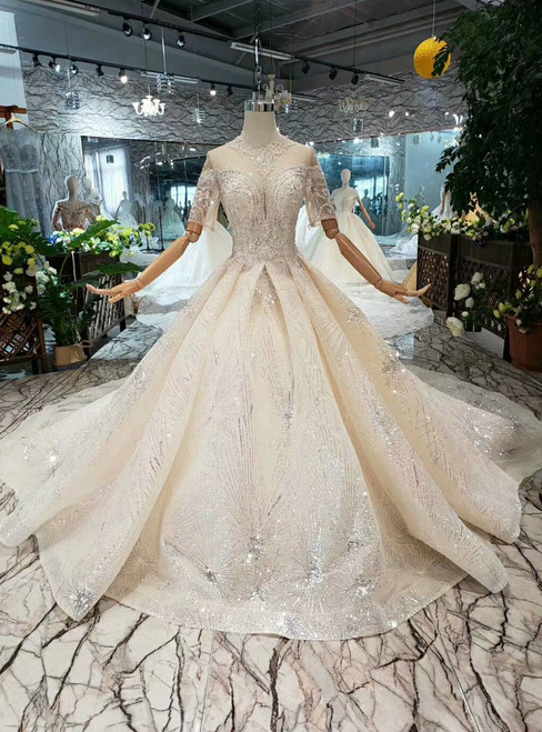 Champagne Ball Gown Sequisn Tulle High Neck Short Sleeve Wedding Dress