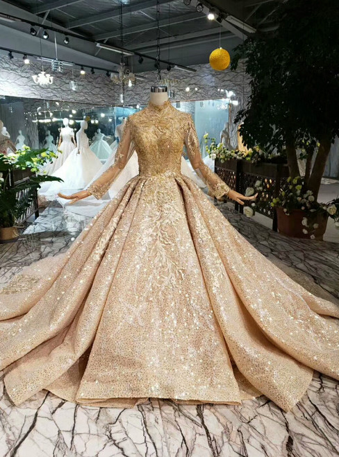 Champagne Gold Ball Gown Sequins Appliques High Neck Long Sleeve Wedding Dress