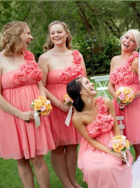 One-Shoulder Bridesmaid Dress Flowers Bridesmaid Dress