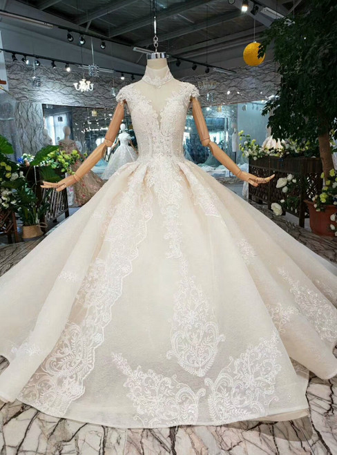 Luxury Champagne Ball Gown Tulle Appliques High Neck Cap Sleeve Wedding Dress With Long Train