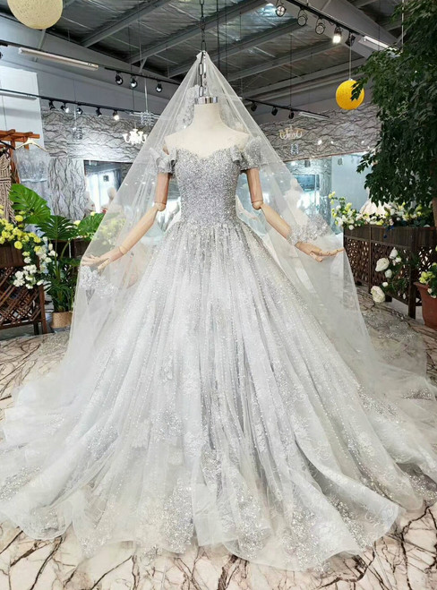 Gray Tulle Off the Shoulder Appliqeus Sequins Wedding Dress With Pearls