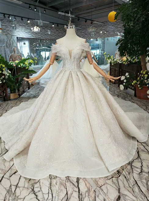 Champagne Sequins Tulle Off the Shoulder Beading Wedding Dress With Long Train
