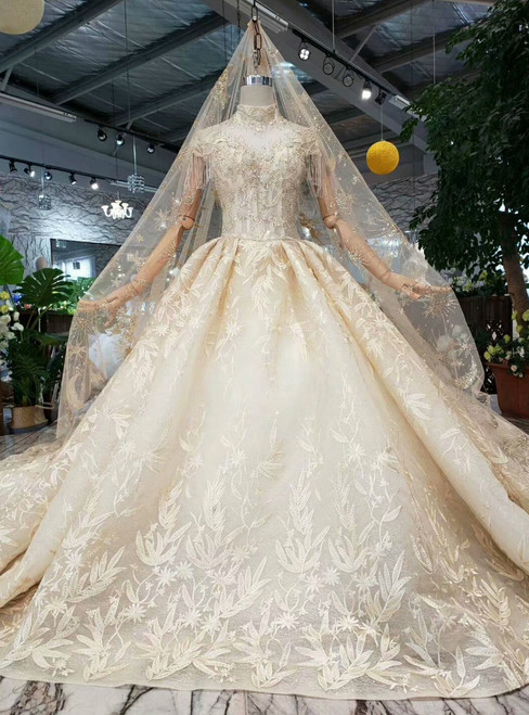 Champagne Ball Gown Tulle Appliques Cap Sleeve High Neck Backless Wedding Dress