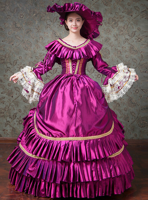 Purple Ball Gown Satin Puff Sleeve Drama Show Vintage Gown Dress