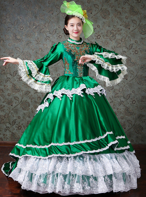 Green Ball Gown Satin Lace Drama Show Vintage Gown Dress