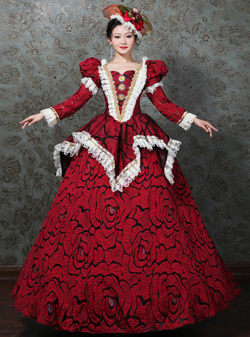 Red Ball Gonw Puff Long Sleeve Lace Drama Show Vintage Gown Dress