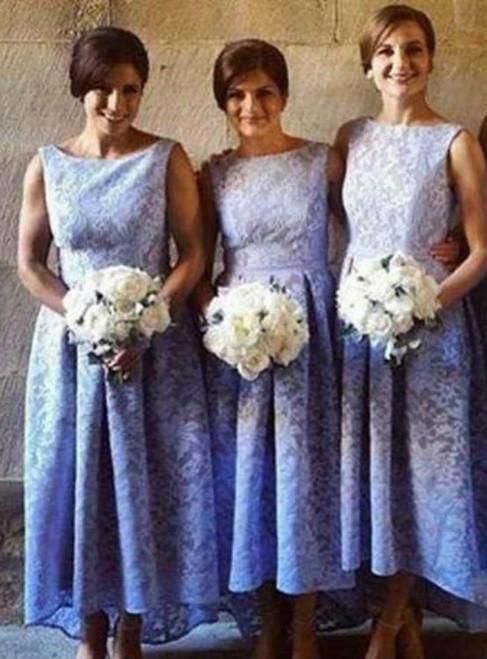 Lace Mermaid Bridesmaid Dresses 2017 Long Scoop Elegant Cheap Lace