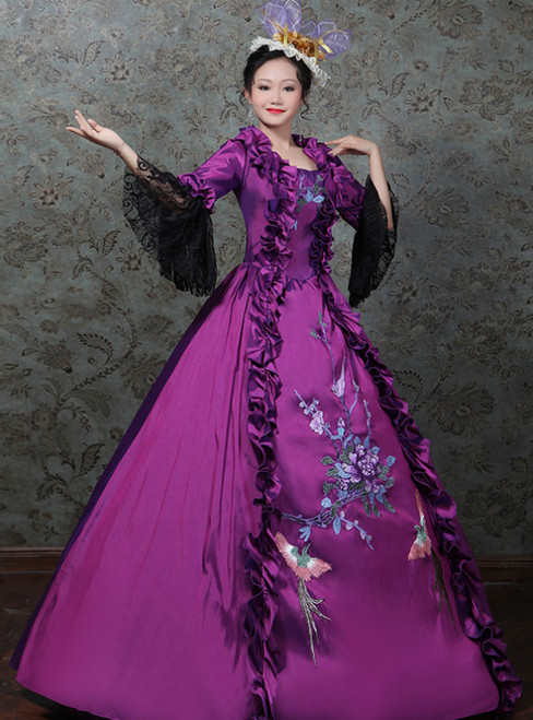 Purple Ball Gown Satin Embroidery Flower Drama Show Vintage Gown Dress