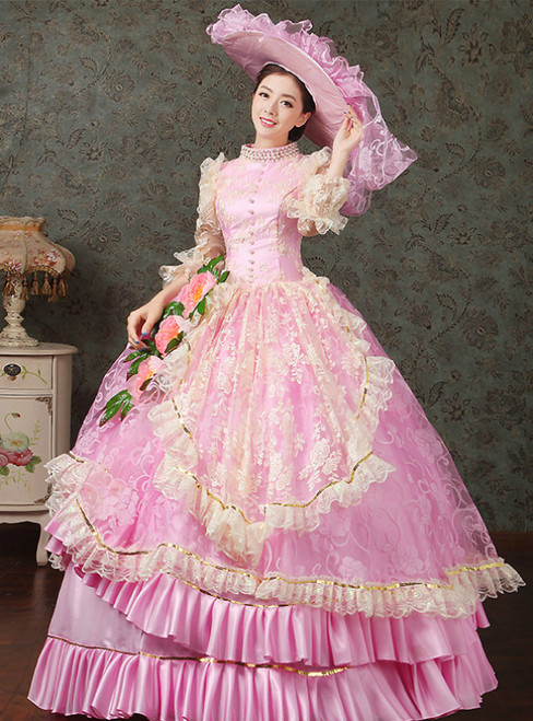 Pink Ball Gown Tulle Satin Hand Flower Vintage Gown Dress Theatre Clothing