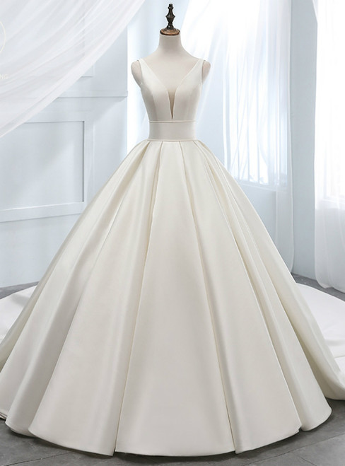Elegant White Ball Gown Satin V-neck Backless Wedding Dress
