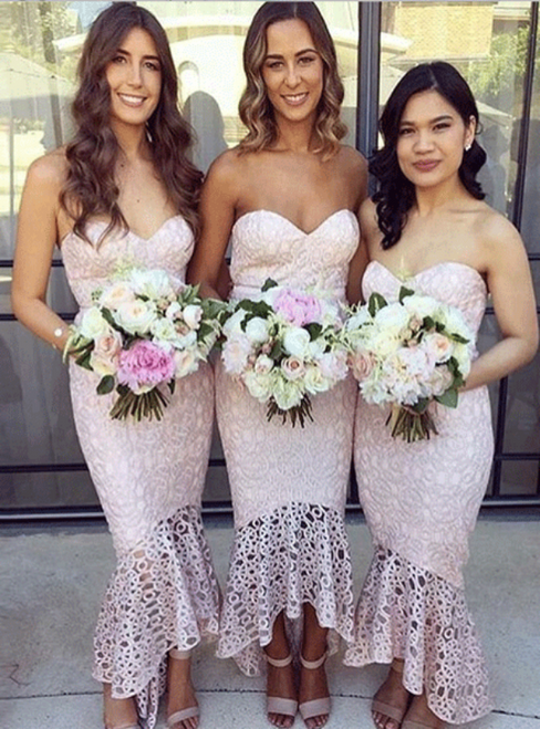 Pearl Pink Lace Mermaid Sweetheart High Low Bridesmaid Dress