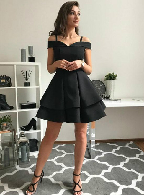 Black Satin Spaghetti Straps Mini Homecoming Dress