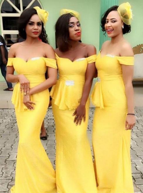 Yellow Mermaid Satin Off The Shoulder Bridesmaid Dress