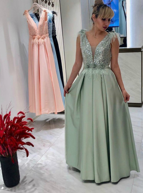 A-Line Green Satin V-neck Backless Sequins Prom Dress With Feather