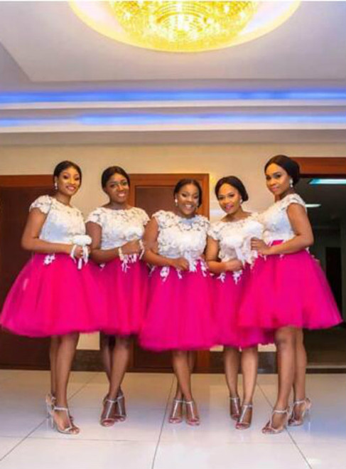 Plus Size Bridesmaid Dresses African Jewel Short Capped Sleeves With Lace Applique