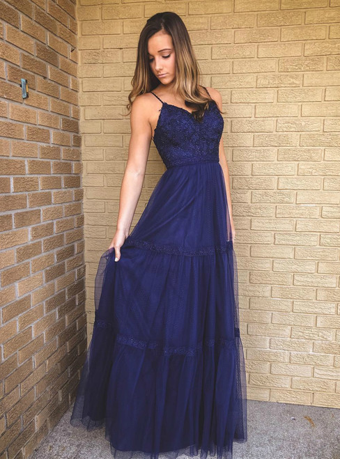 A-Line Navy Blue Tulle Spaghetti Straps Appliques Prom Dress